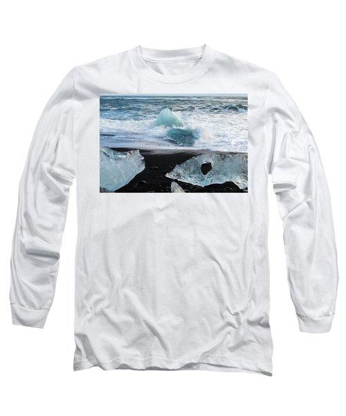Long Sleeve T-Shirt featuring the photograph The Diamond Beach, Jokulsarlon, Iceland by Dubi Roman