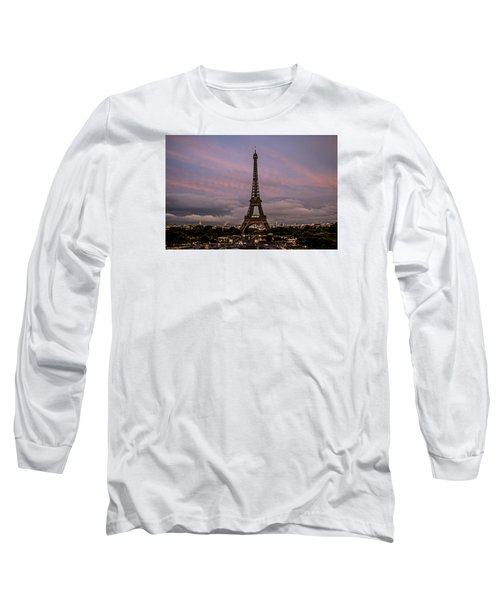 The Eiffel Tower At Sunset Long Sleeve T-Shirt by Jean Haynes