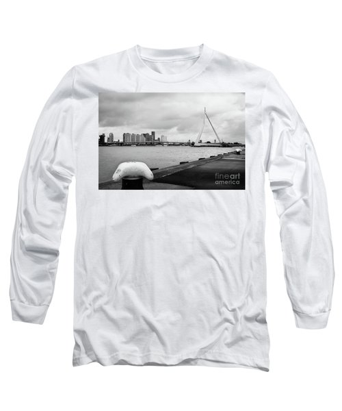 Long Sleeve T-Shirt featuring the photograph The Erasmus Bridge In Rotterdam Bw by RicardMN Photography