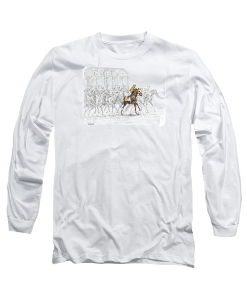 The Favorite - Thoroughbred Race Print Color Tinted Long Sleeve T-Shirt by Kelli Swan