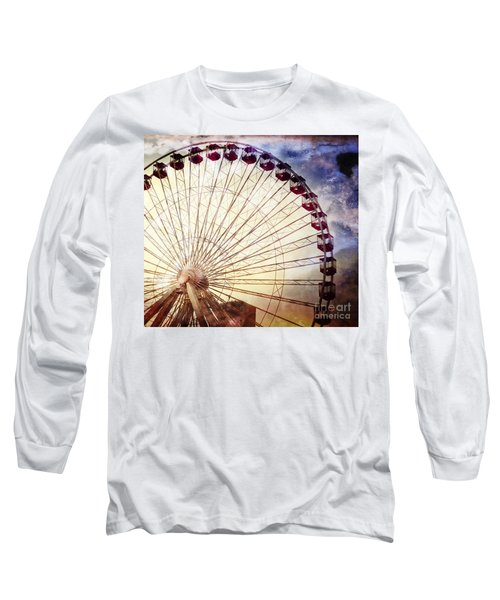 The Ferris Wheel At Navy Pier Long Sleeve T-Shirt by Mary Machare