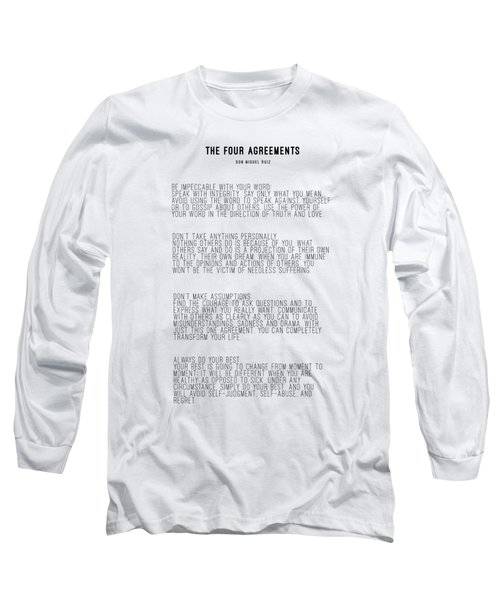 The Four Agreements 5 Long Sleeve T-Shirt by Andrea Anderegg