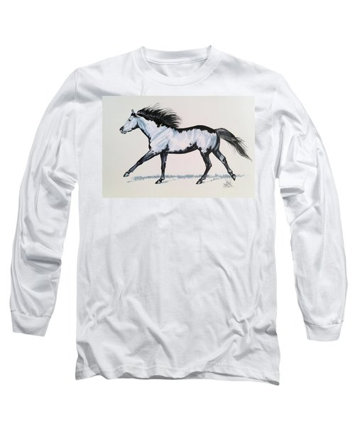 The Framed American Paint Horse Long Sleeve T-Shirt by Cheryl Poland