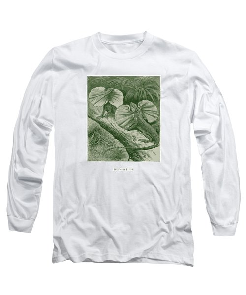 Long Sleeve T-Shirt featuring the drawing The Frilled Lizard by David Davies
