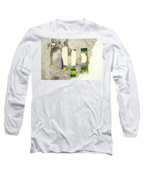 Long Sleeve T-Shirt featuring the painting The Garden by A  Robert Malcom
