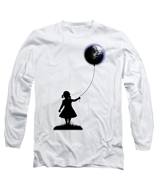 The Girl That Holds The World - White  Long Sleeve T-Shirt by Nicklas Gustafsson