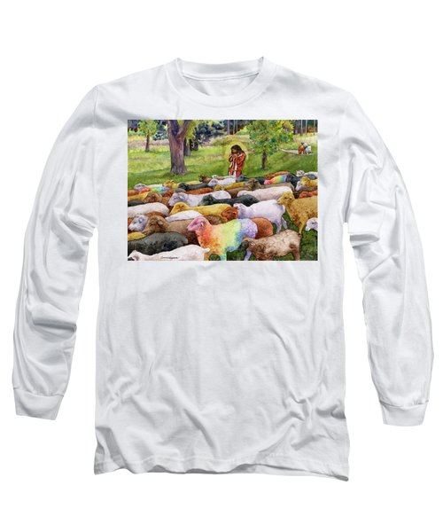 Long Sleeve T-Shirt featuring the painting The Good Shepherd by Anne Gifford