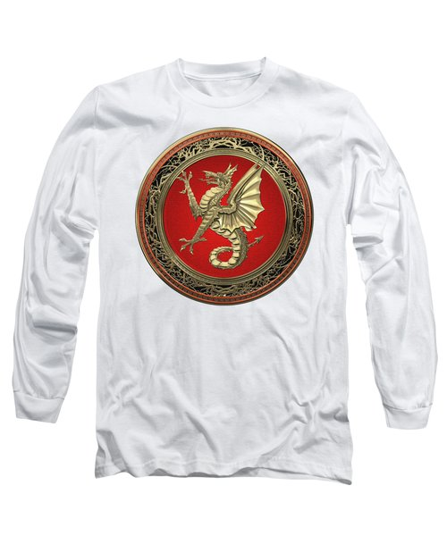 The Great Dragon Spirits - Gold Sea Dragon Over White Leather Long Sleeve T-Shirt