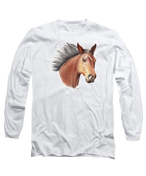 Long Sleeve T-Shirt featuring the drawing The Horse by Mike Ivey