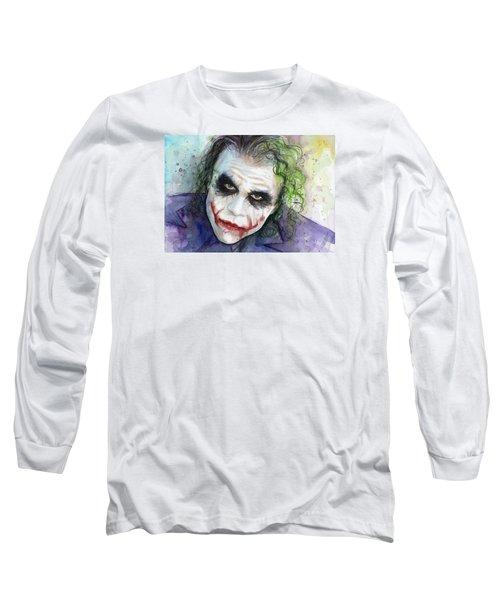 The Joker Watercolor Long Sleeve T-Shirt by Olga Shvartsur