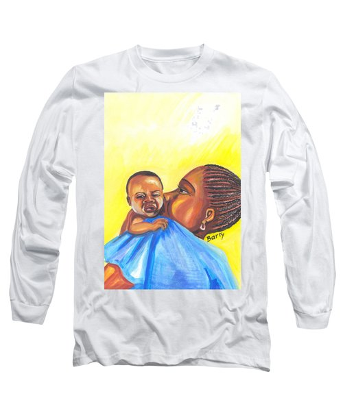 The Kiss Of A Mother In Senegal Long Sleeve T-Shirt by Emmanuel Baliyanga