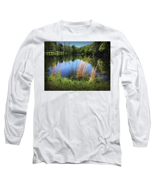 The Lake At Musgrove Mill Long Sleeve T-Shirt by Kelly Hazel