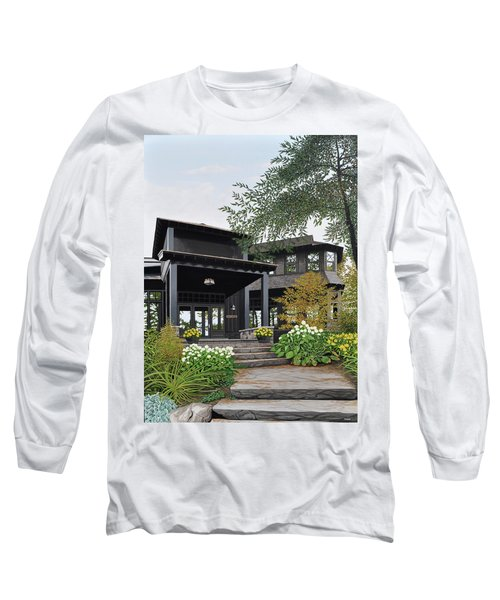 Long Sleeve T-Shirt featuring the painting The Lodge At Fawn Island by Kenneth M Kirsch