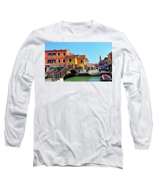 The Main Street On The Island Of Burano, Italy Long Sleeve T-Shirt