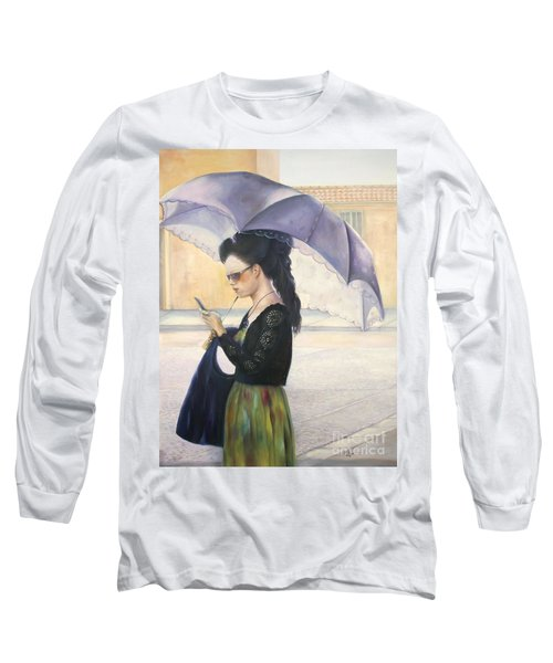 Long Sleeve T-Shirt featuring the painting The Message by Marlene Book