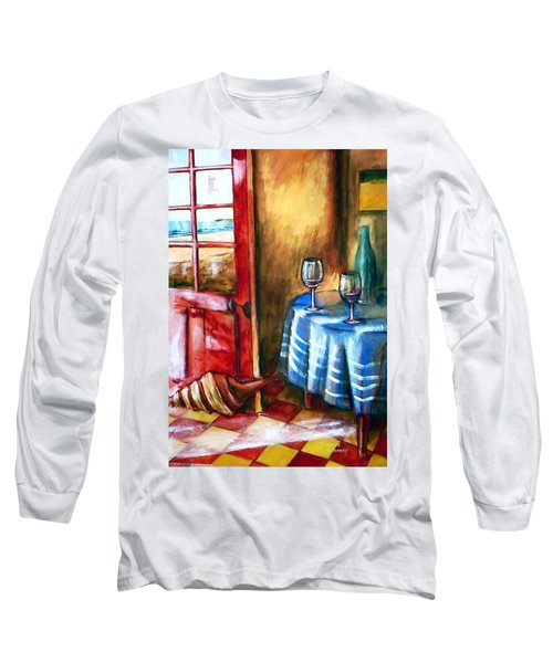 Long Sleeve T-Shirt featuring the painting The Mystery Room by Winsome Gunning