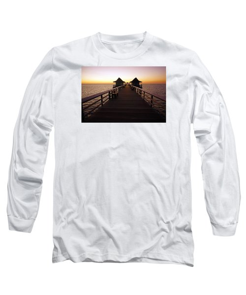 The Naples Pier At Twilight - 01 Long Sleeve T-Shirt by Robb Stan
