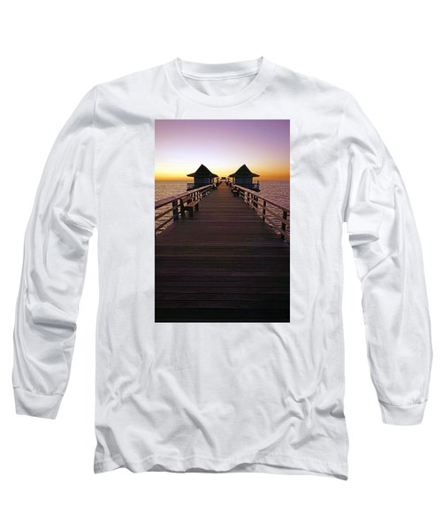 Long Sleeve T-Shirt featuring the photograph The Naples Pier At Twilight by Robb Stan