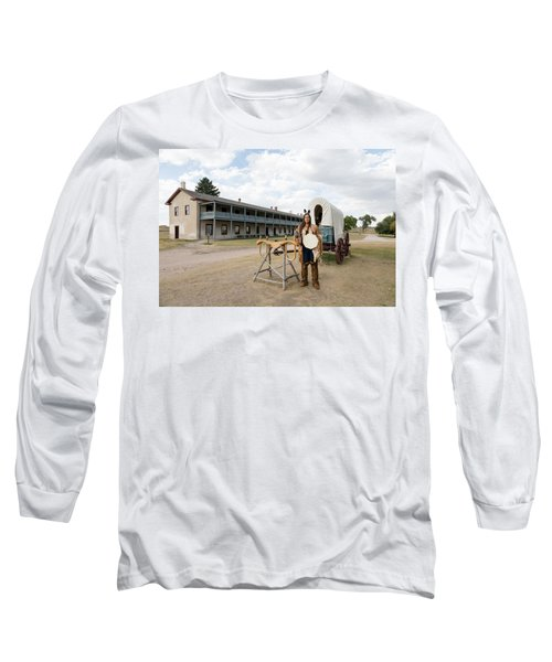 Long Sleeve T-Shirt featuring the photograph The Old Cavalry Barracks At Fort Laramie National Historic Site by Carol M Highsmith