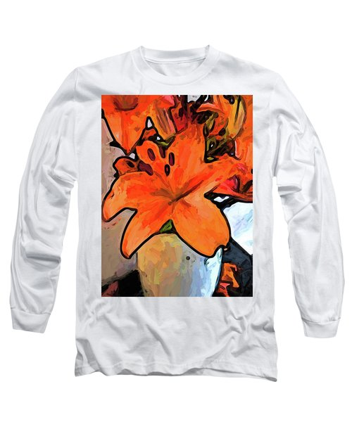 The Orange Lilies In The Mother Of Pearl Vase Long Sleeve T-Shirt