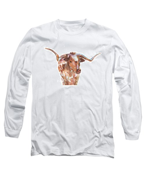 The Original Longhorn Standing Earth Quack Watercolor Painting By Kmcelwaine Long Sleeve T-Shirt by Kathleen McElwaine