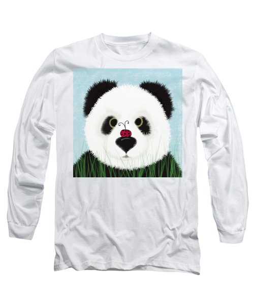 The Panda And His Visitor  Long Sleeve T-Shirt by Michelle Brenmark