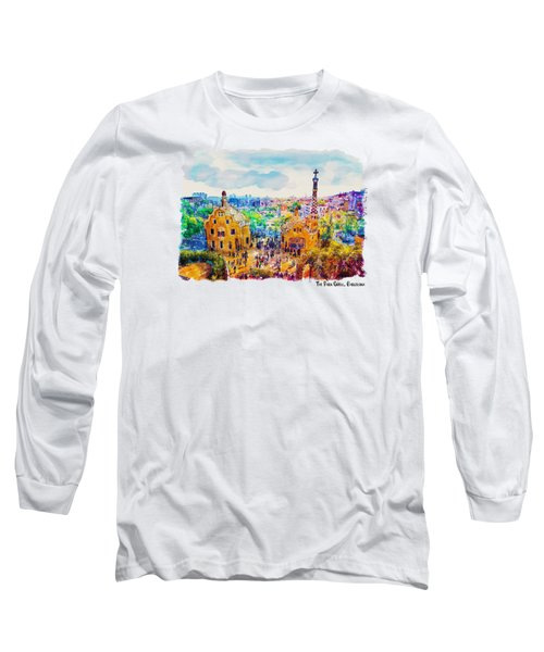 Park Guell Barcelona Long Sleeve T-Shirt by Marian Voicu