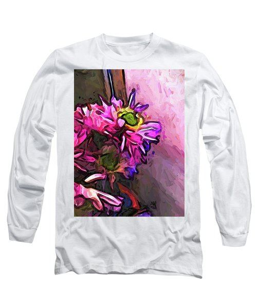 The Pink And Purple Flower By The Pale Pink Wall Long Sleeve T-Shirt