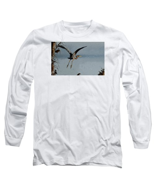The Purple Heron Long Sleeve T-Shirt by Manjot Singh Sachdeva
