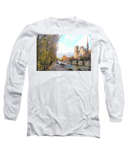 The Seine And Quay Beside Notre Dame, Autumn Long Sleeve T-Shirt by Felipe Adan Lerma