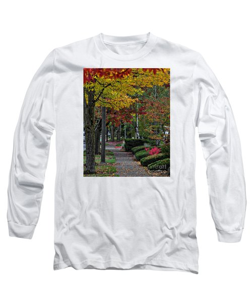 Long Sleeve T-Shirt featuring the photograph The Sidewalk And Fall by Kirt Tisdale