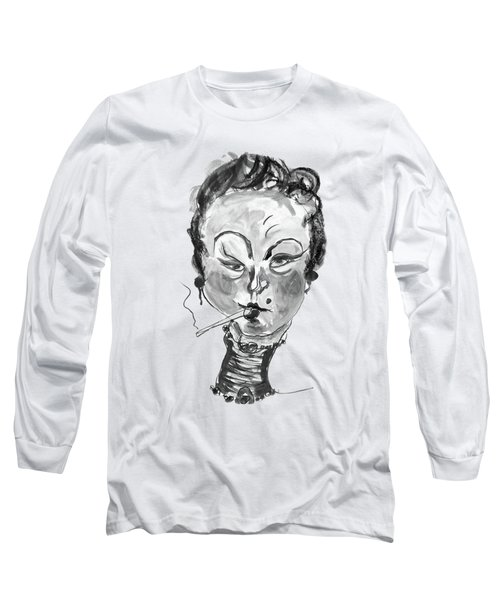 The Smoker - Black And White Long Sleeve T-Shirt