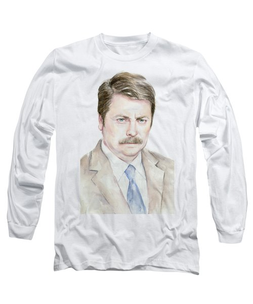 Ron Swanson Watercolor Portrait Long Sleeve T-Shirt by Olga Shvartsur