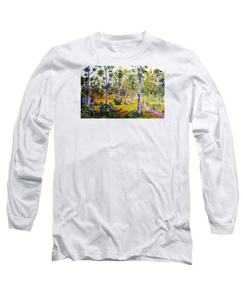 Long Sleeve T-Shirt featuring the painting The Teak Garden by Jason Sentuf