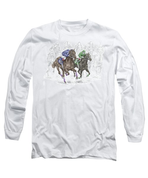 The Thunder Of Hooves - Horse Racing Print Color Long Sleeve T-Shirt by Kelli Swan