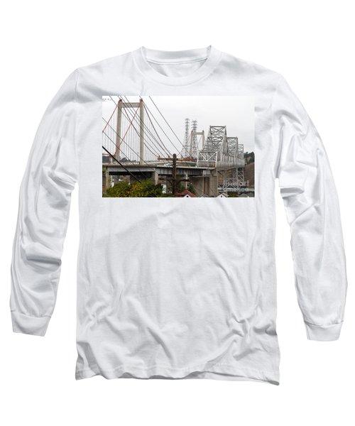 The Two Carquinez Bridges At Crockett And Vallejo California . Aka Alfred Zampa Memorial Bridge . 7d8919 Long Sleeve T-Shirt