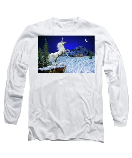 Long Sleeve T-Shirt featuring the digital art The Ultimate Return Of Unicorn  by William Lee