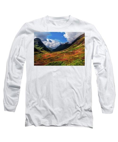 The Valley Of Three Sisters. Glencoe. Scotland Long Sleeve T-Shirt by Jenny Rainbow