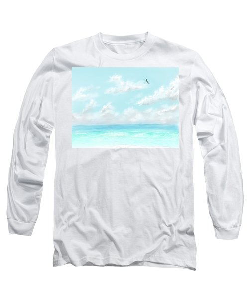Long Sleeve T-Shirt featuring the digital art The Waves And Bird by Darren Cannell