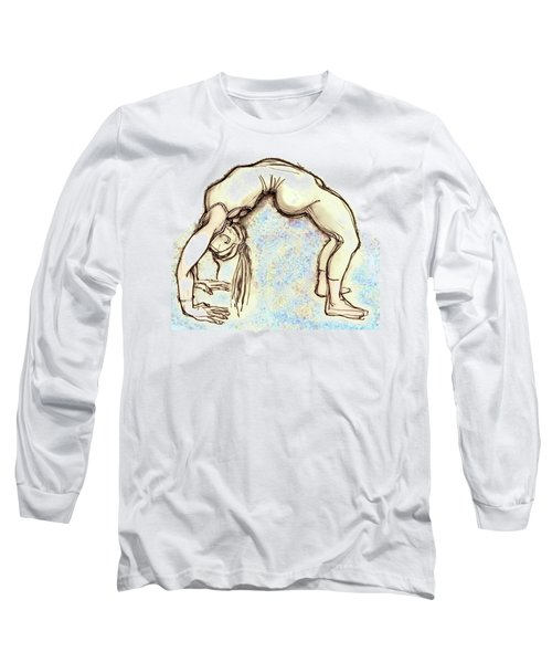 The Wheel - Yoga Poses Long Sleeve T-Shirt by Carolyn Weltman