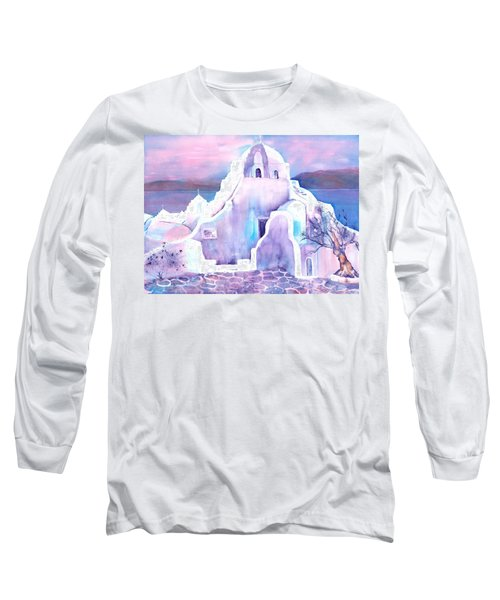 Greece White Church Of Mykonos Long Sleeve T-Shirt