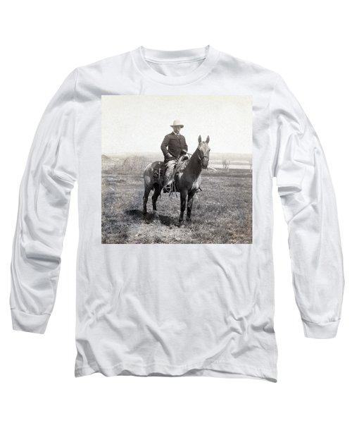 Theodore Roosevelt Horseback - C 1903 Long Sleeve T-Shirt by International  Images