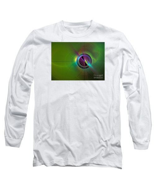 Theory Of Green - Abstract Art Long Sleeve T-Shirt by Sipo Liimatainen