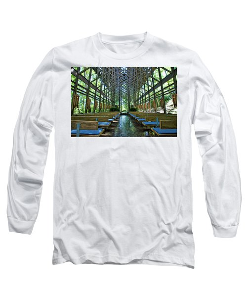 Long Sleeve T-Shirt featuring the photograph Thorncrown Chapel Interior by Cricket Hackmann