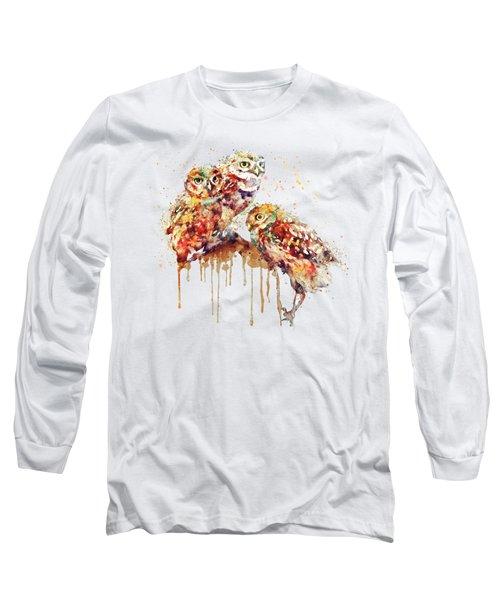 Three Cute Owls Watercolor Long Sleeve T-Shirt