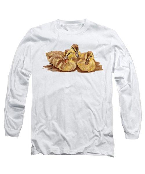 Three Ducklings Long Sleeve T-Shirt by Angeles M Pomata