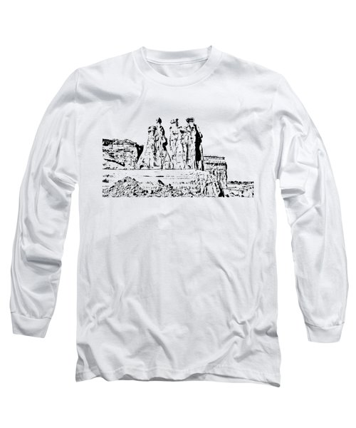 Three Gossips Drawing Long Sleeve T-Shirt by John M Bailey