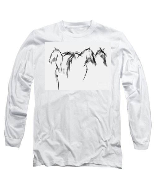 Long Sleeve T-Shirt featuring the painting Three Horse Sketch by Frances Marino