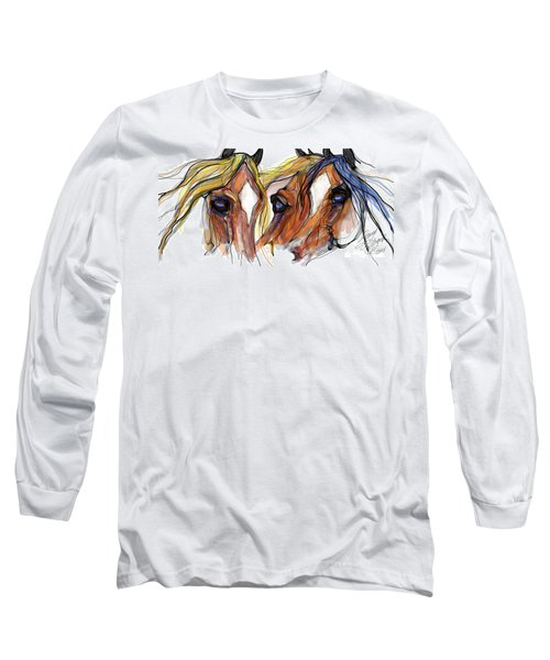 Three Horses Talking Long Sleeve T-Shirt by Stacey Mayer