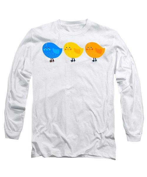 Long Sleeve T-Shirt featuring the digital art Three Little Birds Tee by Edward Fielding
